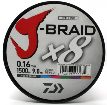 Daiwa J-Braid X8 0,42mm 46,5Kg 1500m multicolor Geflochtene Schnur